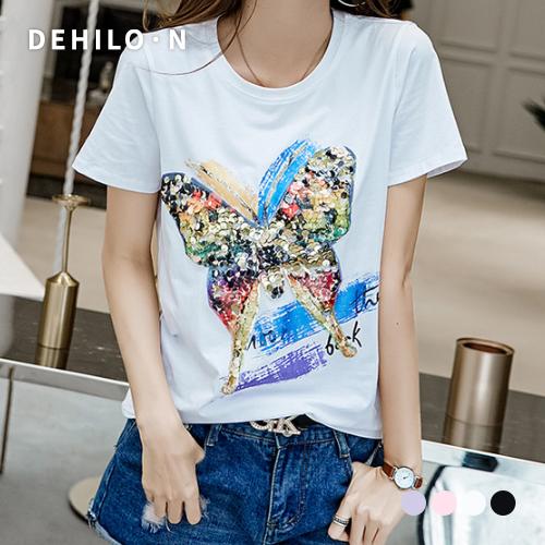 데일로엔 여성용 나비 스팽글 기본핏 반팔 티셔츠