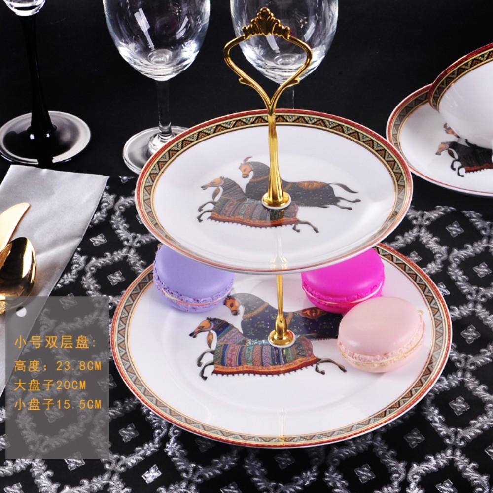유럽식 과일 케이크 접시 플레이트 애프터눈 티 3 층 스낵 더블 트레이, Hermes- 더블 레이어 플레이트 (소형)