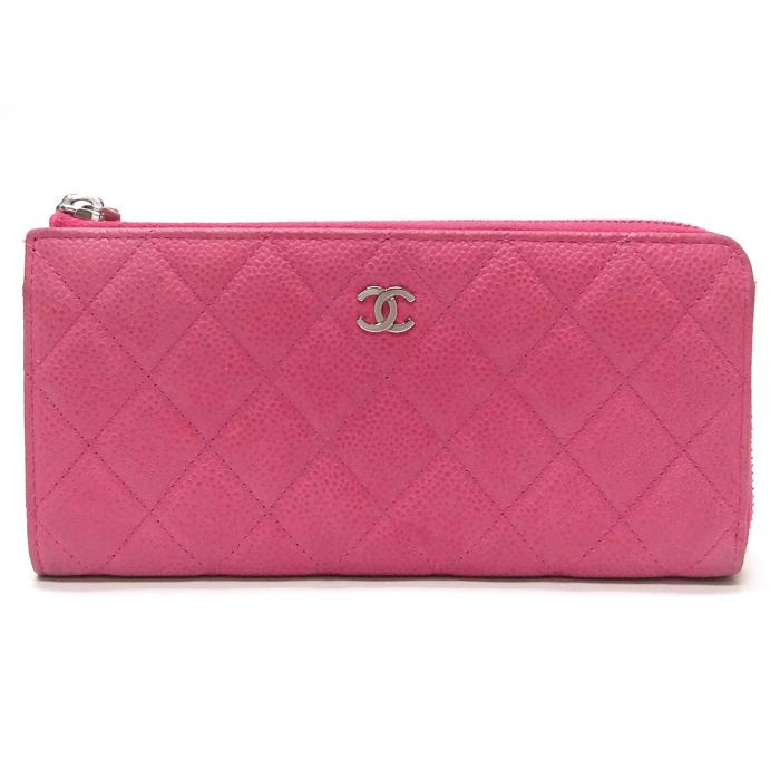 [뉴욕명품] Chanel(샤넬) 지갑 은장 클래식 캐비어 핑크 지퍼 장지갑(17번대) 장지갑