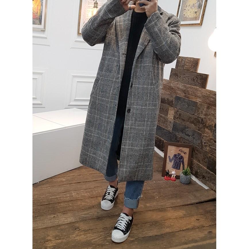 지아카 남자 싱글 롱 오버핏 누빔 글렌 체크 코트