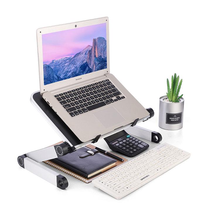 높이조절 노트북 책상 침대 테이블 T1, 블랙
