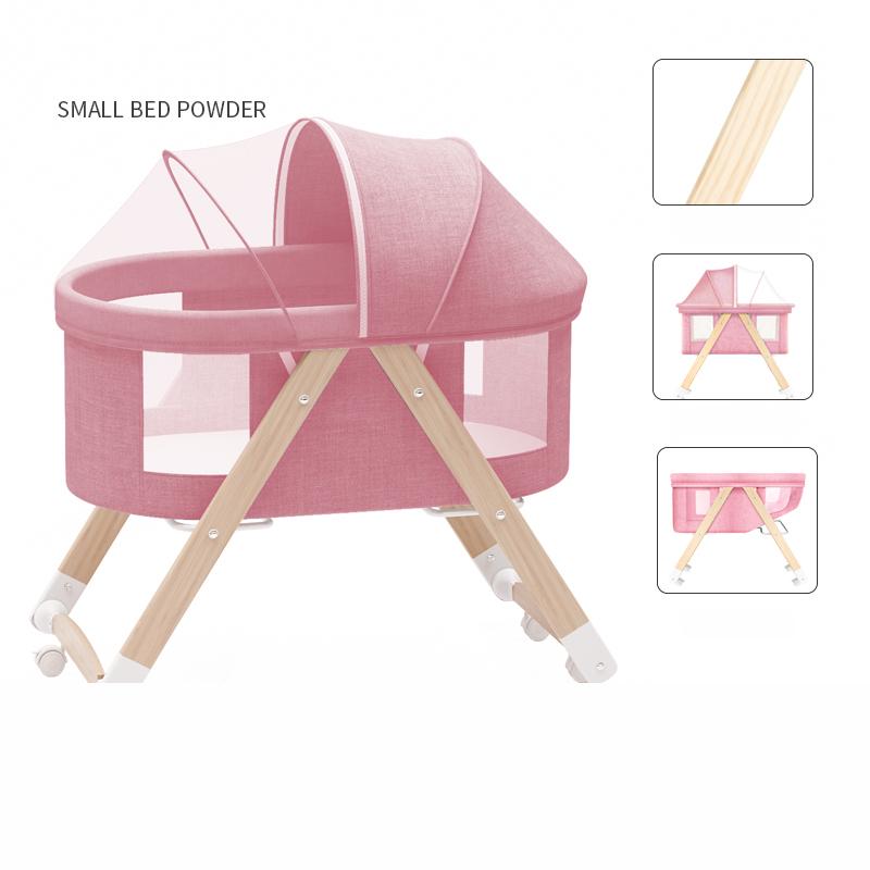 쥬베스 아기 침대 원목 다목적 이동 침대-Q3036DR, 핑크
