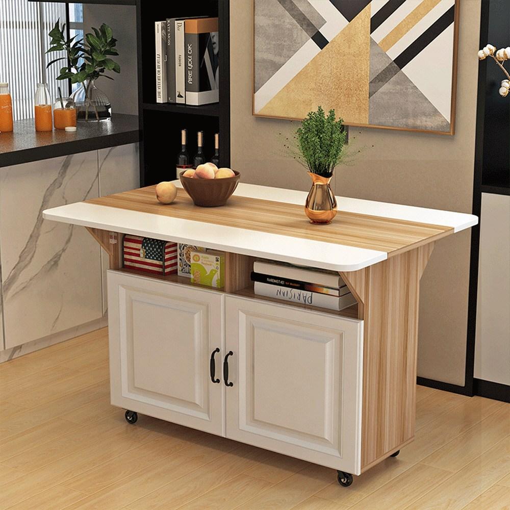 엔틱 다용도 6color 이동식 접이식 테이블 수납함 접이식식탁, 원목색800 오픈형