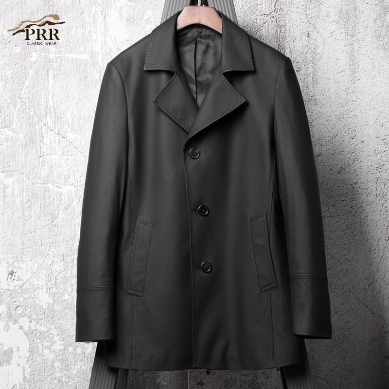 남자가죽코트 Uncoated leather leather men's long section cowhide leather trench coat leather jacket men Haining leather -578327921678