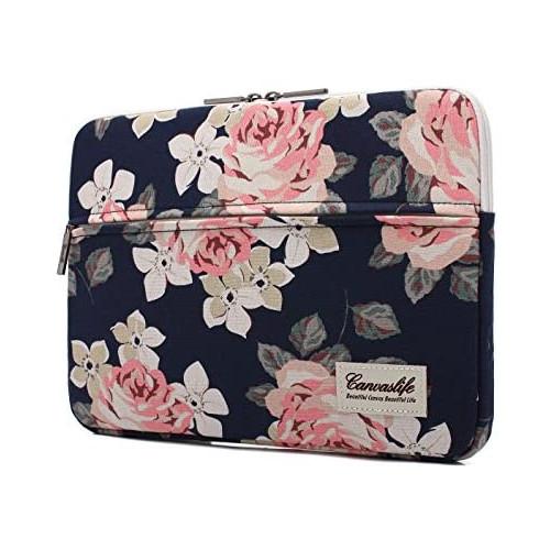 노트북 파우치 Canvaslife White Rose Patten Laptop Sleeve 14 inch 14.0 inch Laptop case Bag, Size = 14 inch / 14.0 inch | Color = White Rose