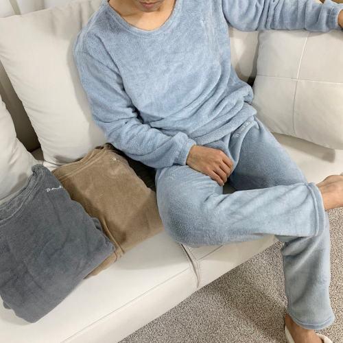 겨울 남성 무지 극세사 밍크 수면잠옷 상하세트 잠옷 홈웨어