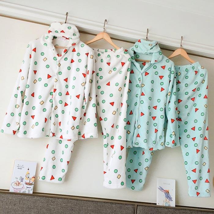 따뜻한 극세사 수면 세모네모 짱구 도형 잠옷
