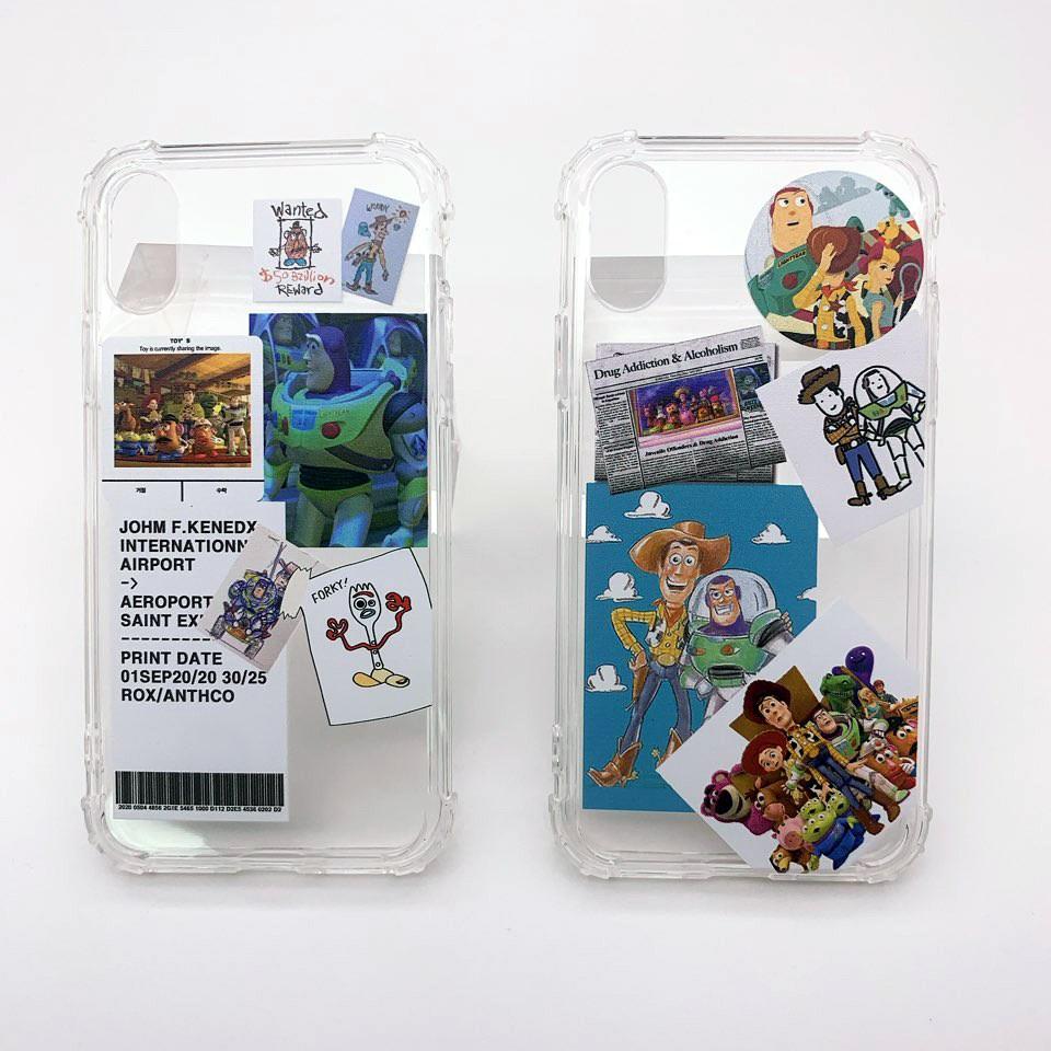 주니아니 토이스토리 라벨 심플한 투명범퍼폰케이스 휴대폰 케이스