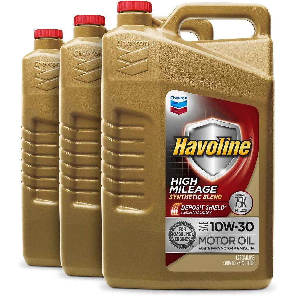 HAVOLINE Havoline 254 646 485 10W30 높은 마일리지 합성 혼합 5 쿼트 3 팩, 5 Quart (Pack of 3)