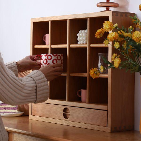 북유럽 다기장 찻잔 그릇 진열장 미니 원목 옛날 찬장 서랍 주방 컵 수납장 그릇장, 벚나무
