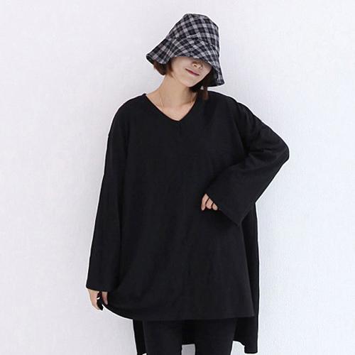 애플망고샵 여성용 브이넥 루즈핏 긴팔 티셔츠 2p