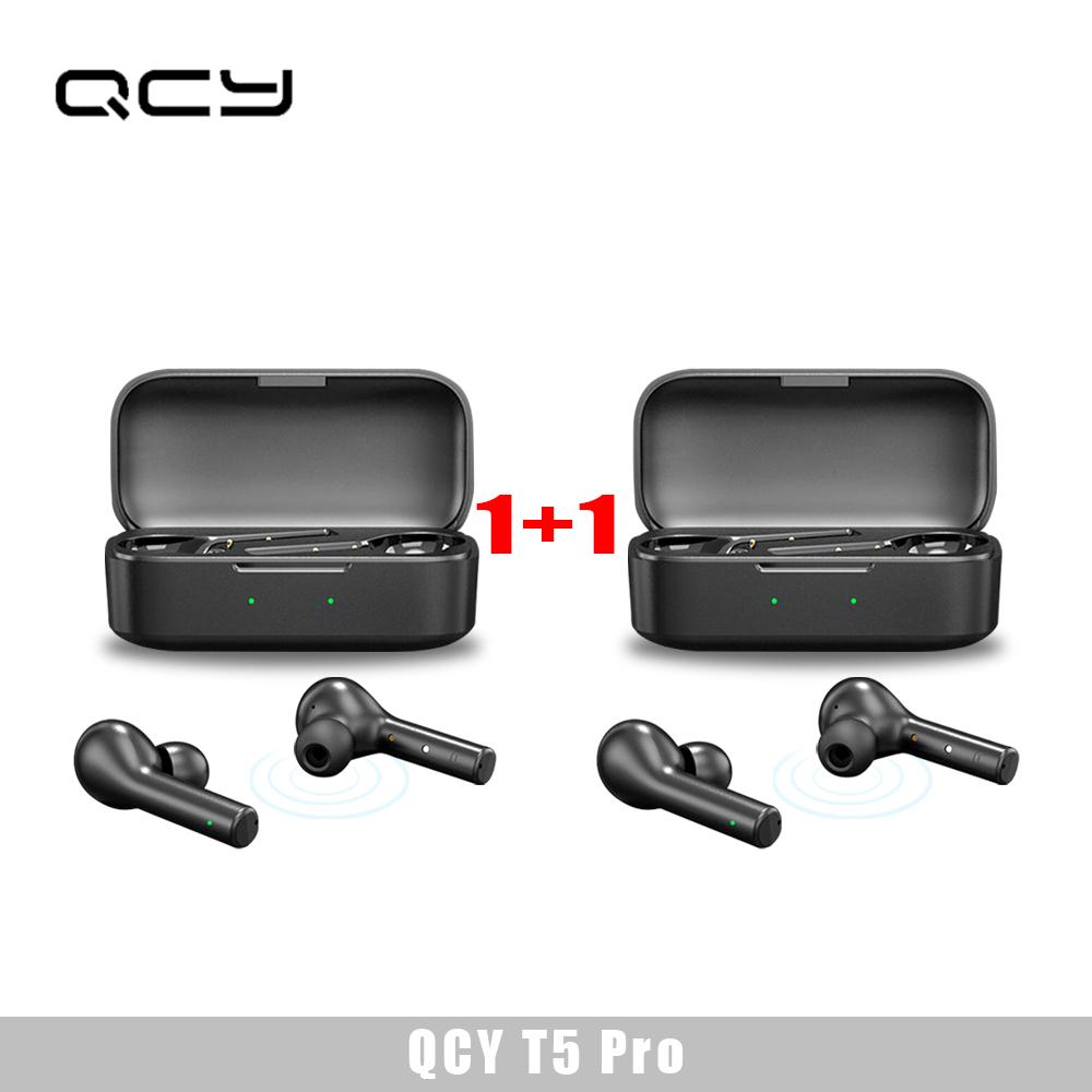QCY T5 pro 블루투스 스마트 무선 이어폰 게임모드 지원 신상 블랙-, T5 Pro 1+1