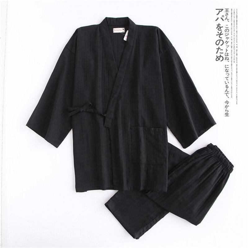 왕 홍 가슴 녀 일본 잠옷 춘추 남 한과 복 면마 세트 더 블 거즈 한증 복 큰 사이즈 얇 은 검은색 상의 + 긴 바지 M