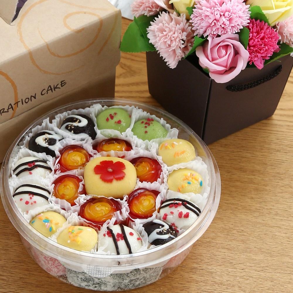 엠케이크 Special 떡케이크&꽃다발 선물세트 원형3호, 1650g, 1개