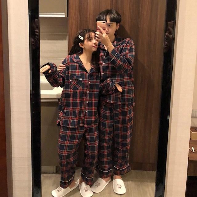 데코라멘 타탄 체크파자마 커플잠옷 시밀러룩 홈웨어