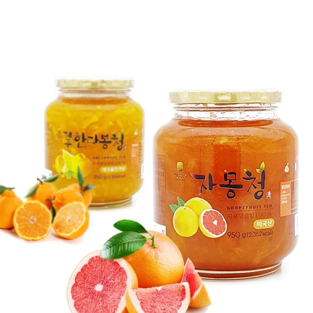 [ 수제청 과일청 ] 제주 한라봉청 950g + 자몽청, 1set