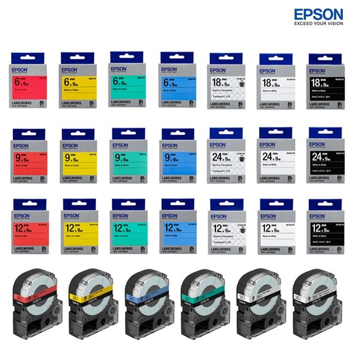 엡손 라벨테이프 라벨카트리지 전규격 모음 길이 9M, 1. 라벨테이프 4mm, 투명/검정글씨 (POP 252275261)