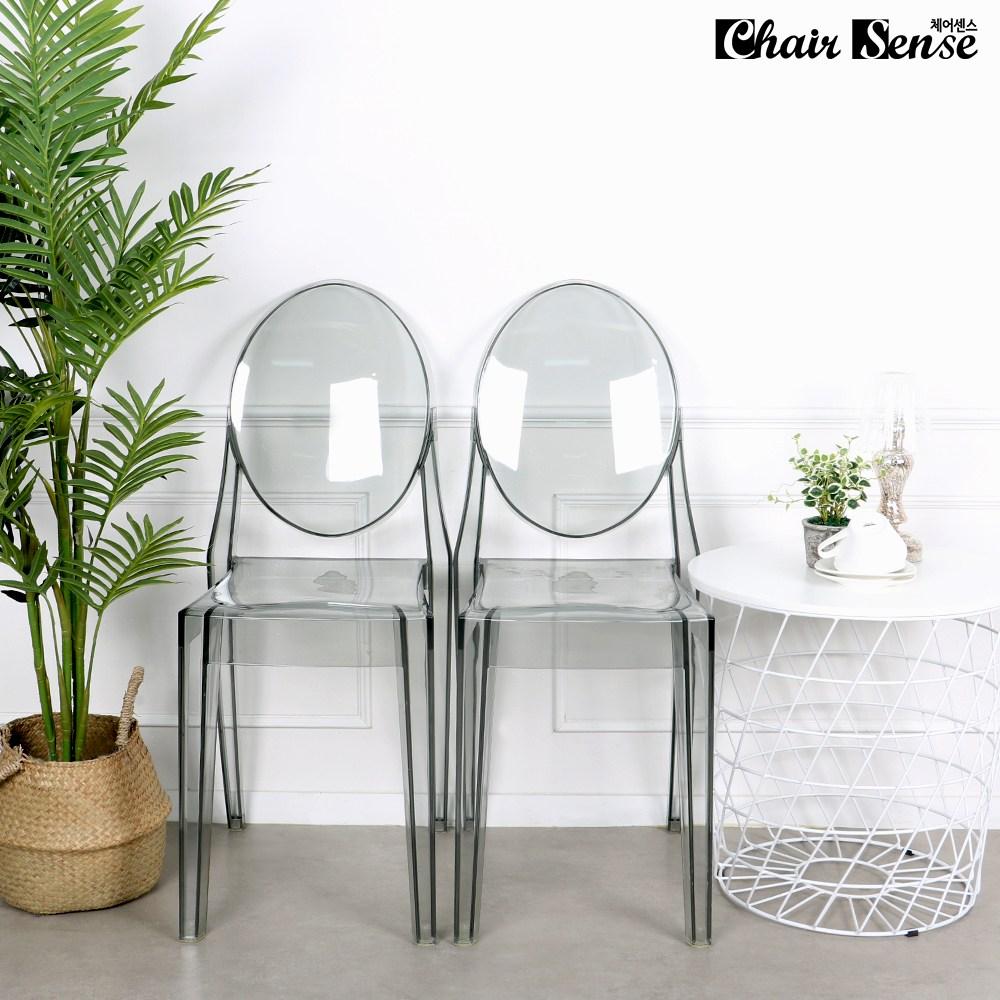 체어센스 글래스 투명 카페 인테리어 업소용 의자, 팔무 딥그레이