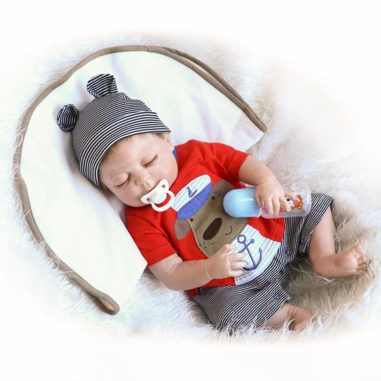 NPK 부드러운 실리콘 아기 남아 애착 리얼 베이비 아기 인형, 57cm