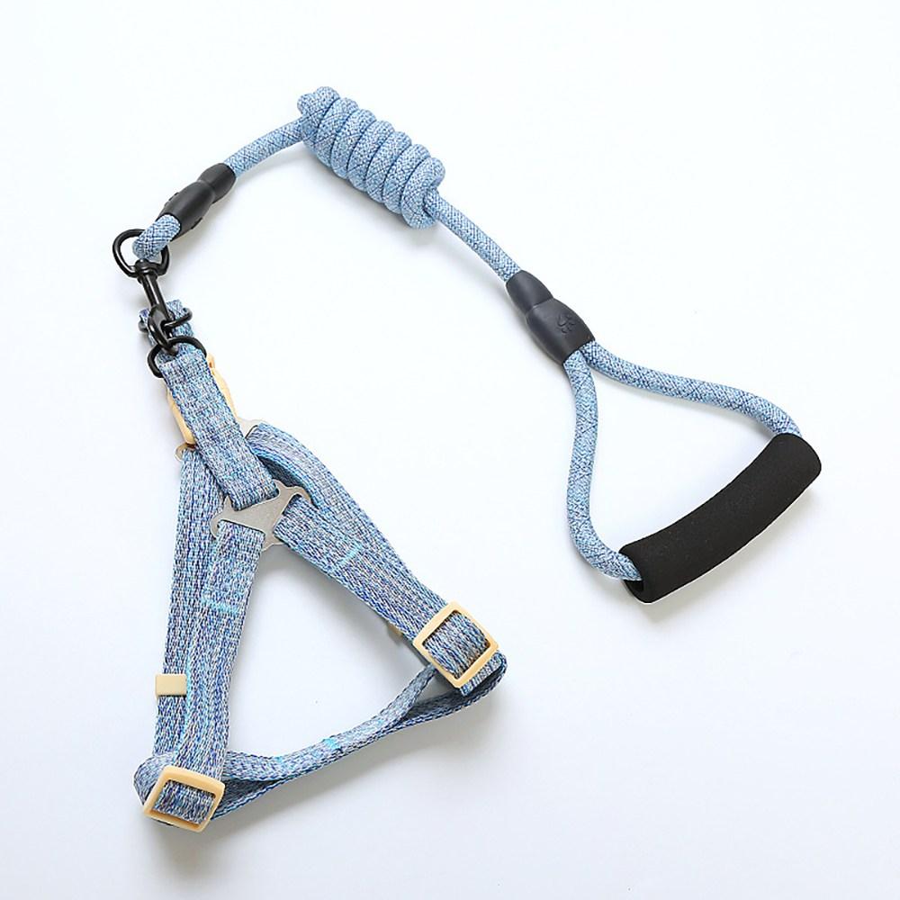 똥똥몰 애견하네스 강아지 가슴줄 안전 목줄 리드줄 산책 등줄 심플 컬러, 01 블루