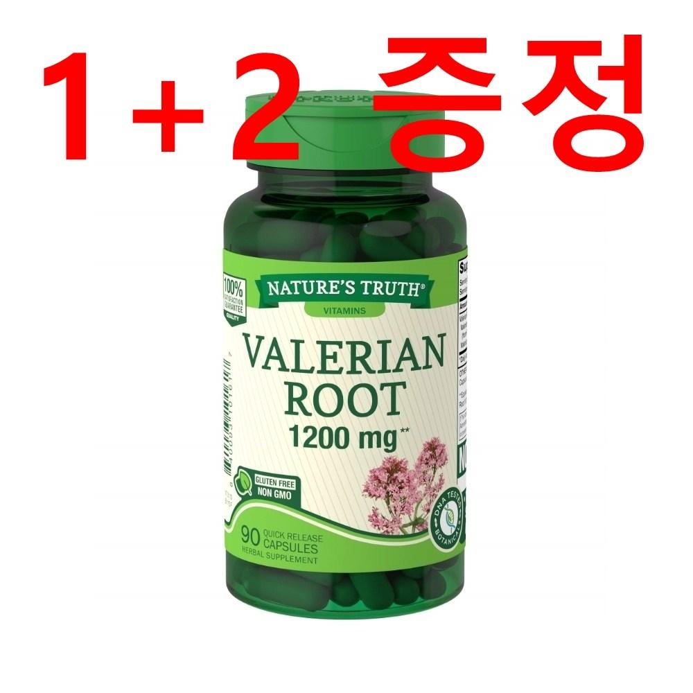 [판매자가 직접 먹어본 후기] (1+2) 식물성 수면유도제 불면증영양제 코로나블루 수면장애 쥐오줌풀 발레리안 루트 1200mg 90캡슐, 1병