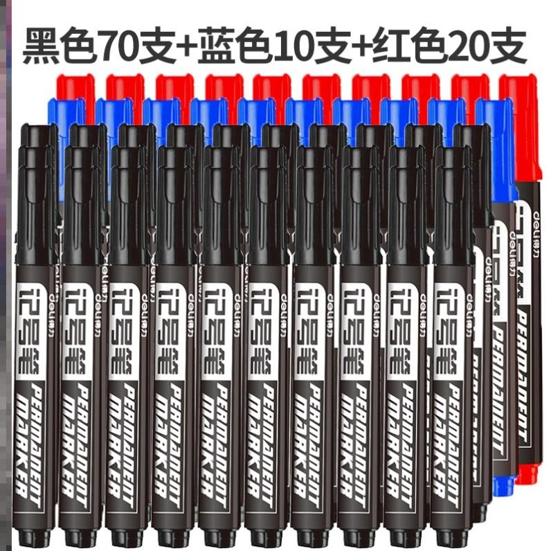 매직 유성마커펜 공업 물빠짐없음 펜대 초필 마카 페인트덧칠펜 방수 타이어 펜, T05-N63-[ 블랙 ]70개+[ 블루 ]10개+[ 레드 ]20개