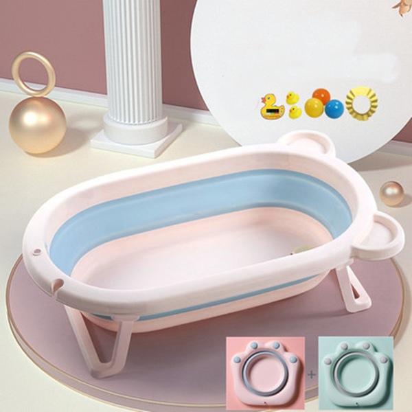 뽀뽀아가 어린이 욕조 접이식 아기욕조 신생사 욕조ET0063 유아욕조, 핑크+접이식 세숫대야