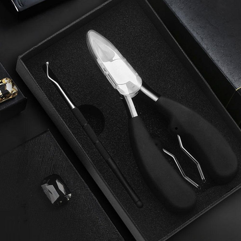 올블랙 내향성 발톱 깎이 2종 세트 파고드는 내성 발톱 관리 큐렛 도구 깎기 네일 케어 니퍼 제거기 자르기 정리기, 손발톱관리 도구 2종 1세트