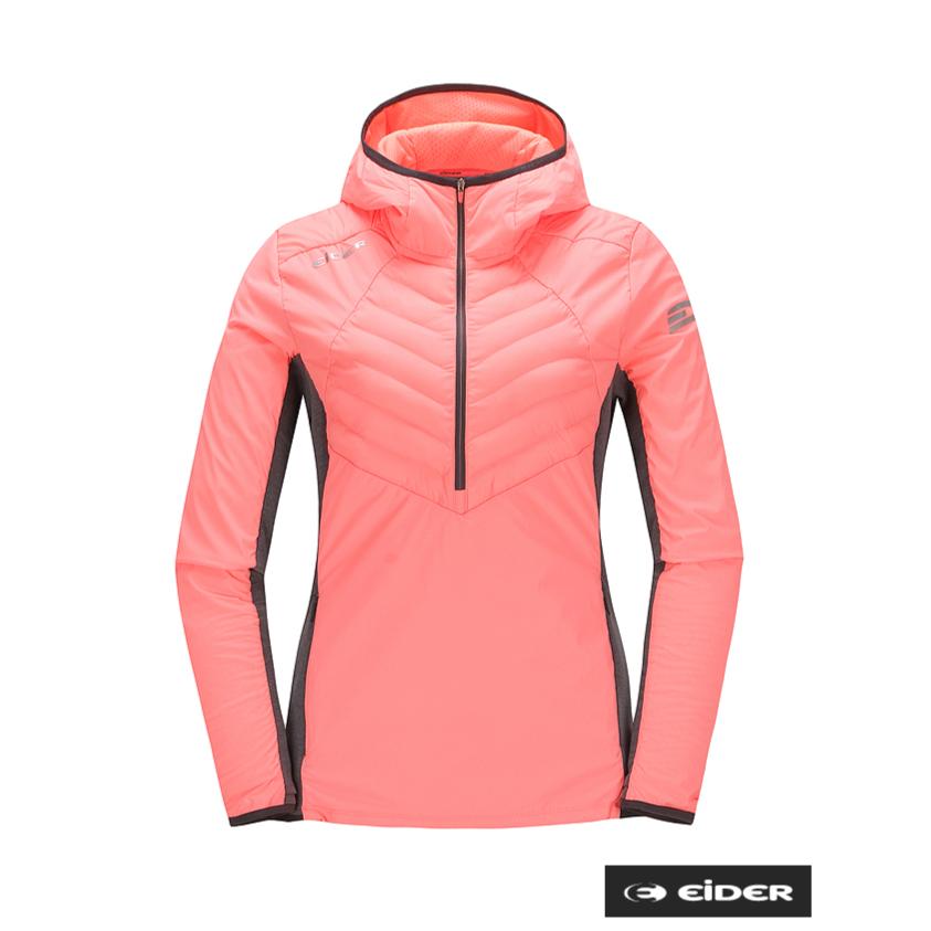아이더 [이월특가] 여성 틴타겔 후드 티셔츠(핑크) 패딩과 기능성 소재가 활용되어 보온성을 극대화한 겨울 여성 반집업 후드 티셔츠
