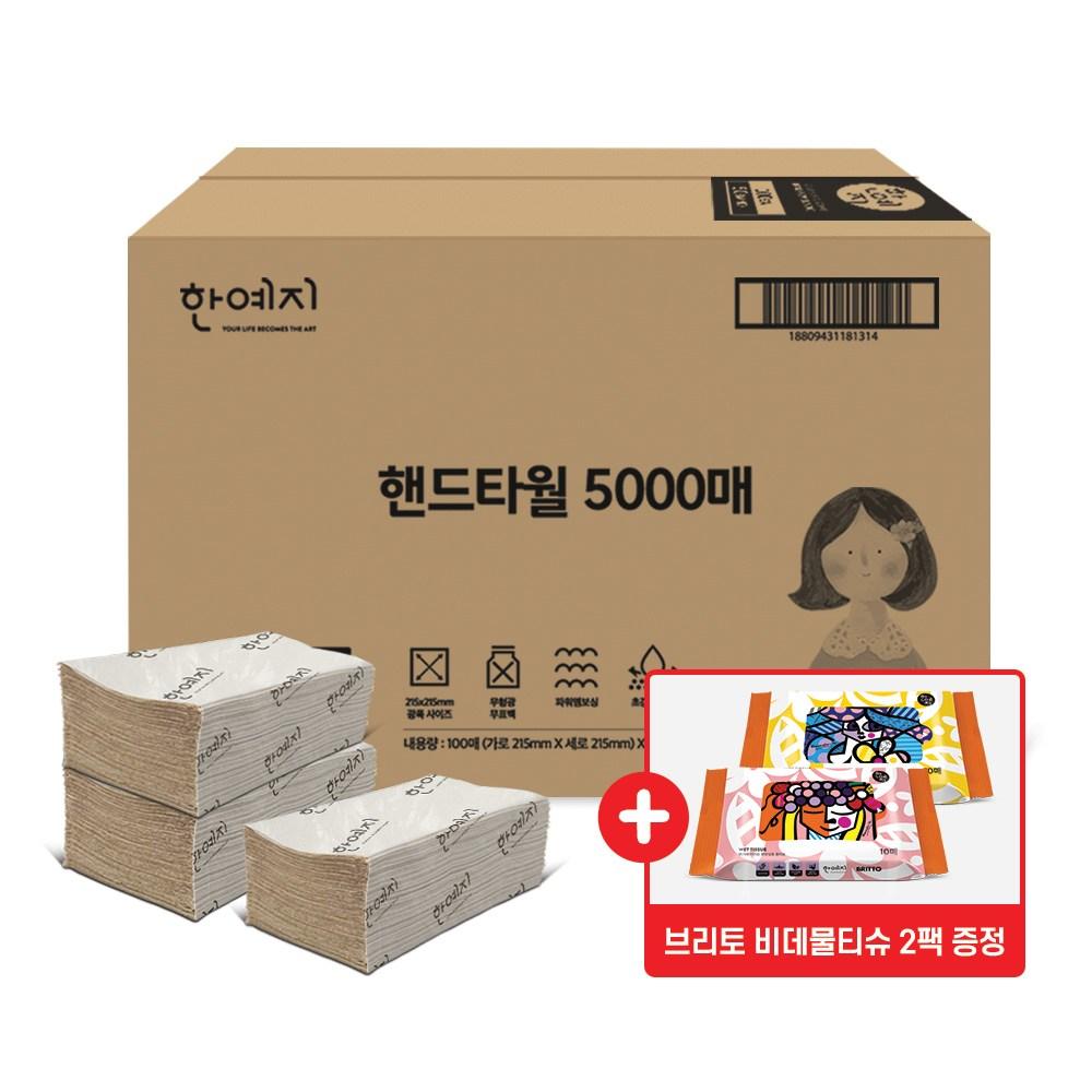 한예지 무형광 핸드 페이퍼 타올 5000매+물티슈 증정, 1box