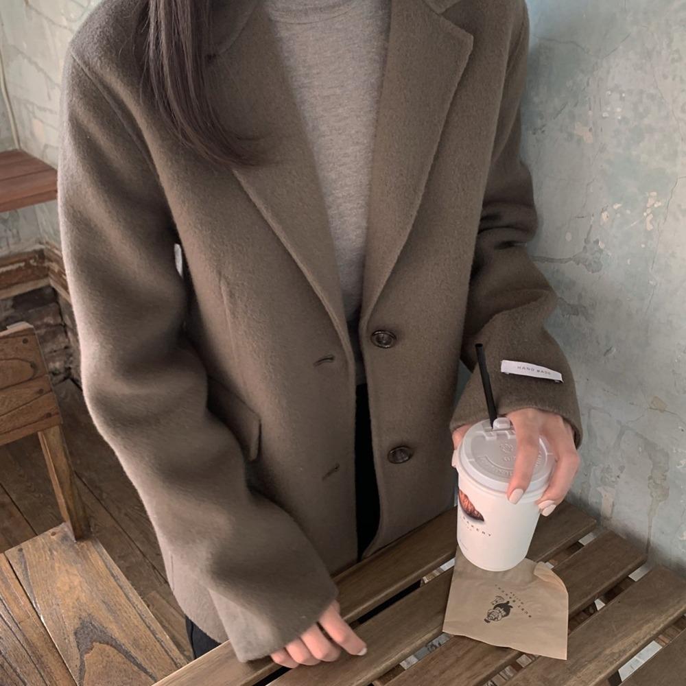 싱글 여성 울 핸드메이드 자켓