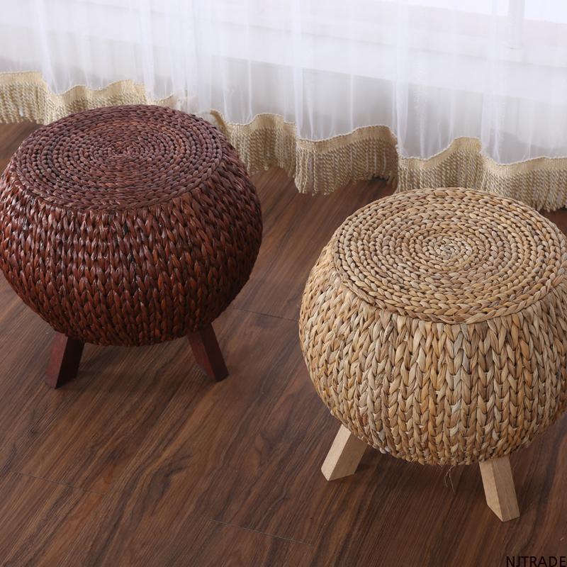 NJTRADE 등나무 라탄 스툴 미니 의자 바나나잎 밀짚, 원색