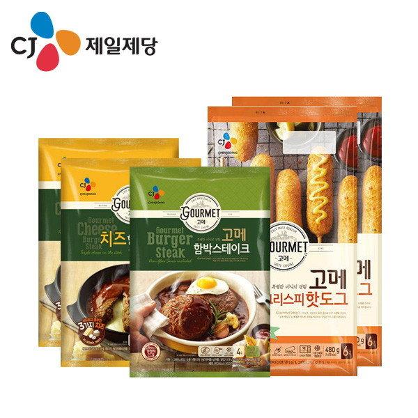 CJ제일제당 고메핫도그 2개 함박스테이크 치즈/냉동 간편조리핫도그, 단일상품