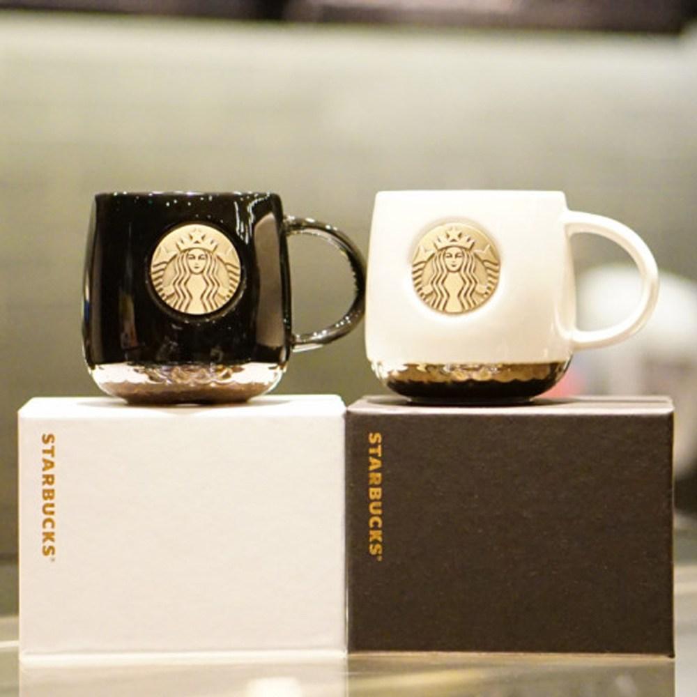 스타벅스 STARBUCKS 로고 머그컵 브론즈 스벅 사이렌 머그잔 커피잔, 1개, 화이트