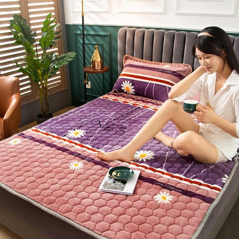 토퍼 템퍼 매트리스 침구 기타 겨울 기모 쿠션 학생 기숙사 싱글 담요 침대, AR_1.2 X 2m