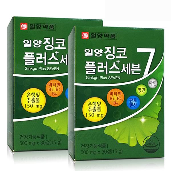 일양약품 징코플러스 은행잎추출물 기억력 혈행개선, 15g, 2개