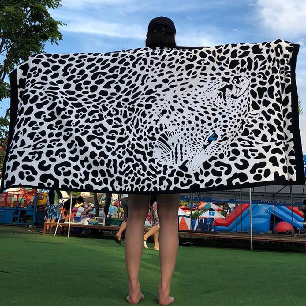 케이투나인 특대형 비치타올 180cm x 100cm, 1개, 특대 맹수재규어 비치타올