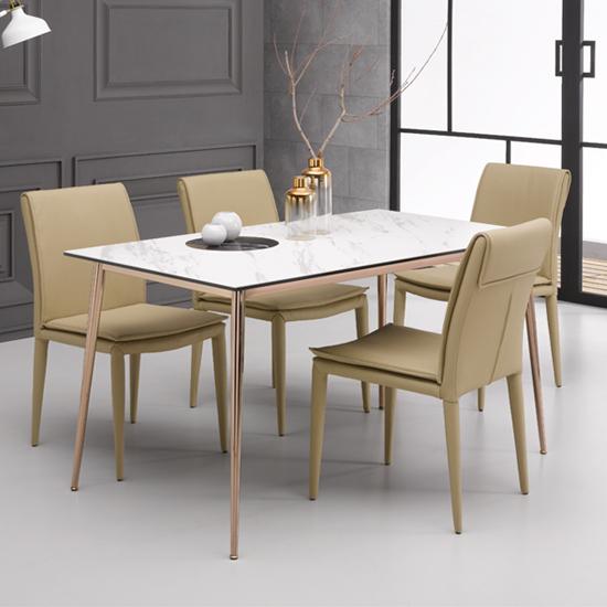 [로드퍼니처] 로얄 이태리 세라믹 식탁세트 /4인용/6인용, 1200사이즈-화이트 상판+의자(그레이)