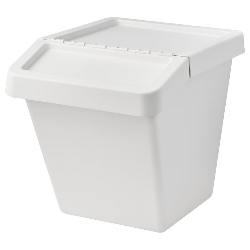 분리수거함 IKEA IKEA SORTERA 분리 수거함 + 뚜껑 부착 분리 수거함 보관함 화이트, 02 화이트 60 리터