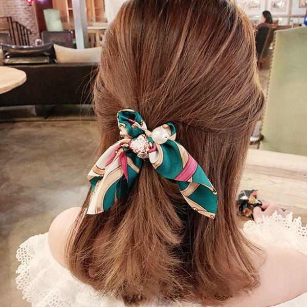 그린코코 스카프 진주 여성 헤어끈 곱창 머리끈