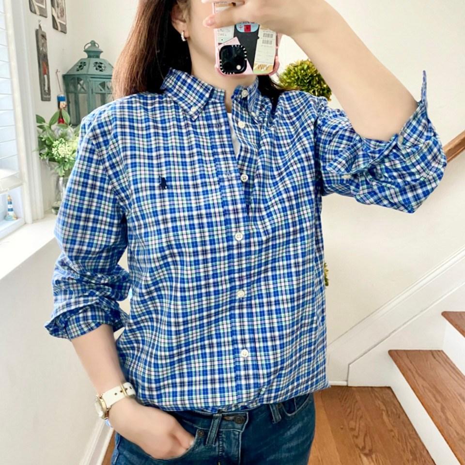 폴로랄프로렌 남녀공용 보이즈 로얄 그린멀티 플레이드 코튼 포플린 셔츠