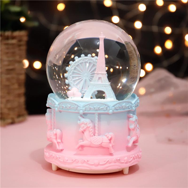 감성 프랑스 파리 에펠탑 스노우볼 여행 기념품 선물 여자친구선물, 핑크 민트