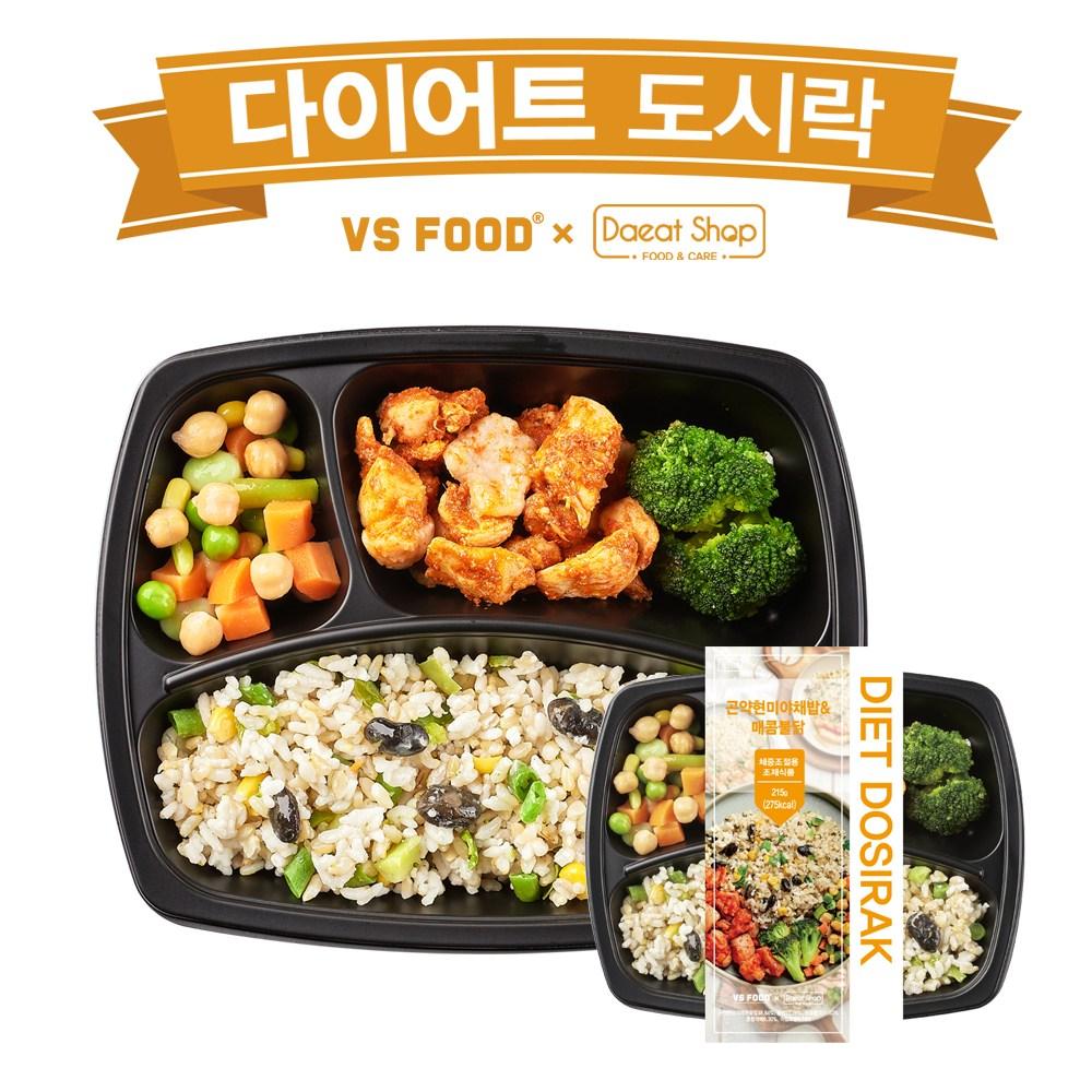 [더바른도시락] 다이어트 신상도시락 곤약현미야채밥& 매콤불닭, 1팩