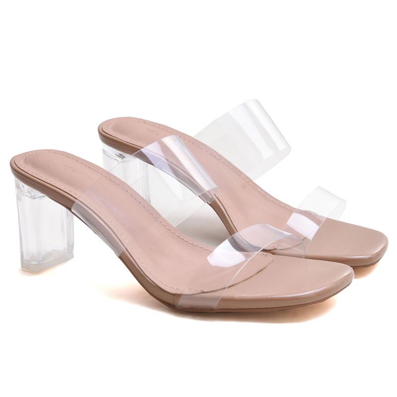 하이힐 샌들 통굽 크리스탈 투명한 코디하기쉬운 발이편한한 여성 신발
