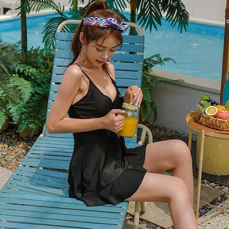 헤링본 여름 원피스 수영복 비키니 모노키니 프릴 셔링 랩원피스 플레어 바캉스 비치웨어 CD216, CDX216 라라프릴