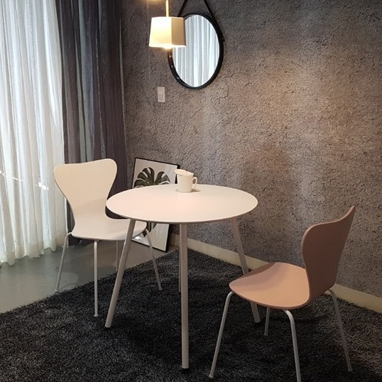 라움 화이트 원형 식탁 타원형 라운드 테이블 2인 4인 6인 8인 벤치 의자, 화이트원형800