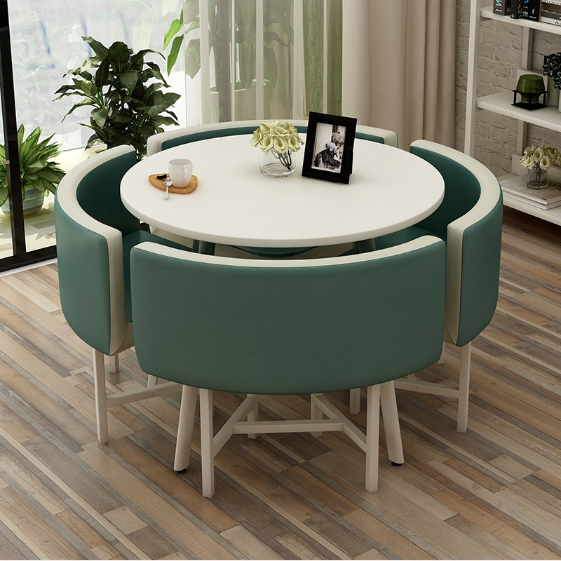 북유럽 카페 식당 4인 식탁 테이블 의자 세트 38종, 원형 다크블루-화이트