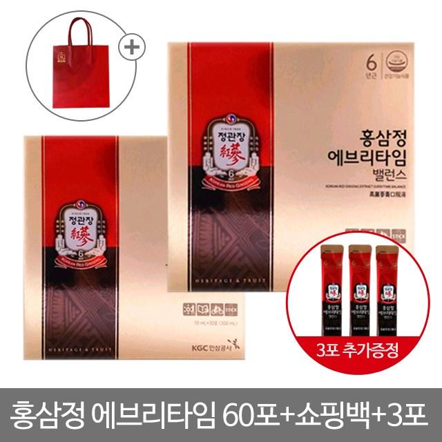 정관장 홍삼정 에브리타임 밸런스 30포 2박스(총60포), 60포, 10ml