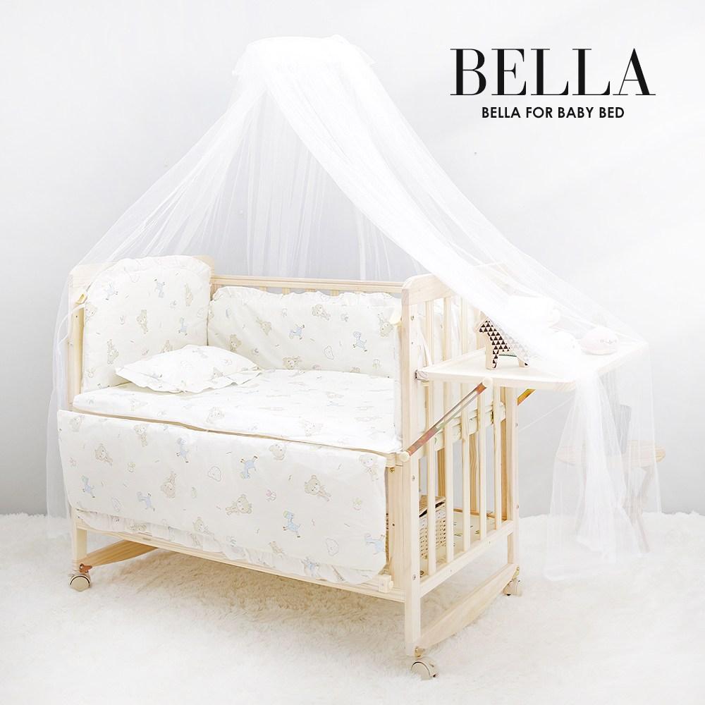 JK스토어 벨라 베이비 원목아기침대 아기침대+3가지 사은품, 아기침대+베어프렌즈 범퍼