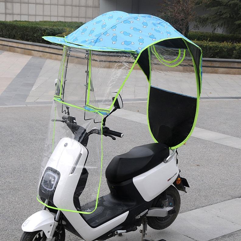 윈드스크린 전동 축전지차 비피하는장막 풍성한 오토바이 바람막이커버 비막이 자외선차단 지붕장막 차양 우산 두꺼운 어닝, T01-블루 하트 플라잉